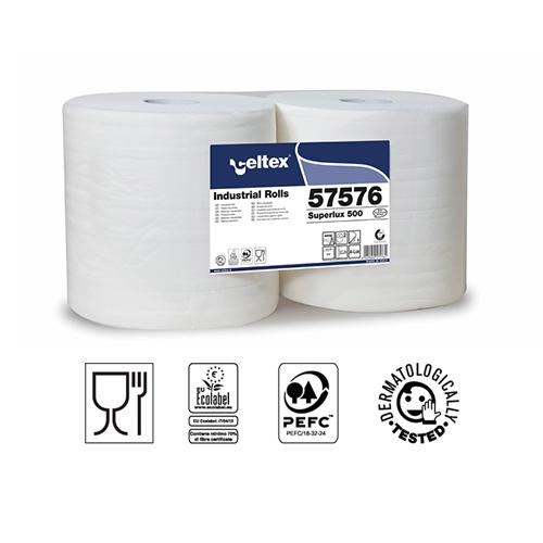 BOBINA CARTA SUPERLUX 500 CELTEX- PURA CELLULOSA 3 VELI GOFFRATA- ROTOLO 500 STRAPPI