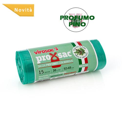 SACCO RIFIUTI PROXSAC PROFUMATO PINO CON BRETELLE 15 PZ - 30 LT - 52 X 65 CM