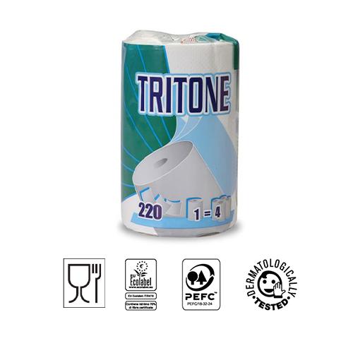 ROTOLO ASCIUGATUTTO TRITONE- PURA CELLULOSA GOFFRATA 3 VELI-220 STRAPPI