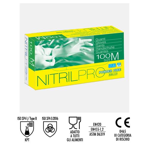GUANTO SINTETICO IN NITRILE NITRIL PRO POWDER FREE - CONFEZIONE DA 100 PEZZI