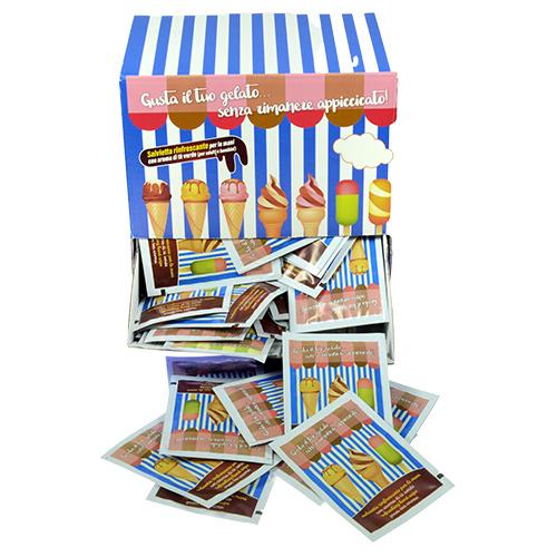 BOX + 100 SALVIETTE GELATO CM.7X10 PROFUMATE AL THE VERDE