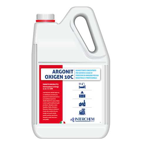 ARGONIT OXIGEN 10C - DISINFETTANTE ATTIVO CONTRO BATTERI, LIEVITI, FUNGHI E VIRUS – TANICA 5 LT.