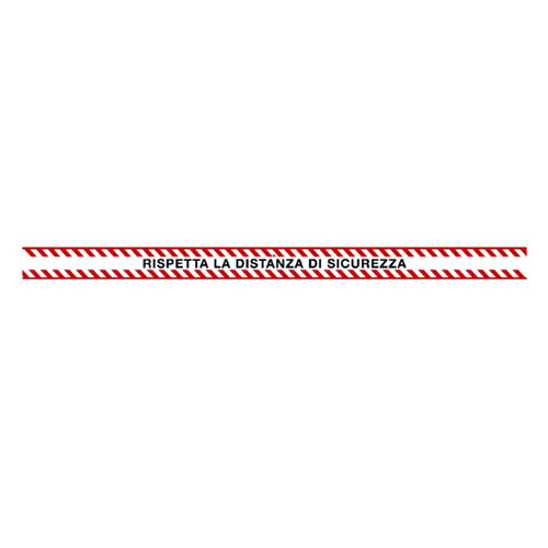 """SEGNALETICA ADESIVA PER PAVIMENTI """"RISPETTA LA DISTANZA DI SICUREZZA"""" PER RISPETTO DISTANZA DI SICUREZZA COLORE BIANCO/ROSSO- CM 110X7"""