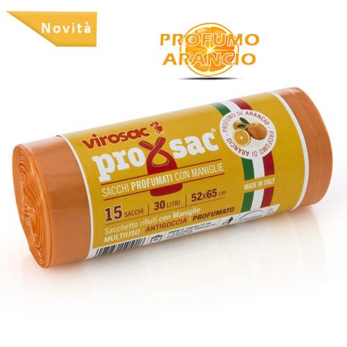 SACCO RIFIUTI PROXSAC PROFUMATO ARANCIO CON BRETELLE 15 PZ - 30 LT - 52 X 65 CM